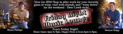 Website Slider Friday Night Music Lounge is every Friday night at Deer Creek Main in Shippenville, PA.