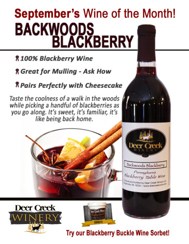 Deer Creek Winery Wine of the Month September 2015