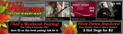 Deer Creek Winery Live Music October 3rd & 4th.