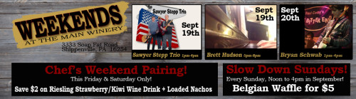 ek Winery Live Music Weekends September 19th and 20th.