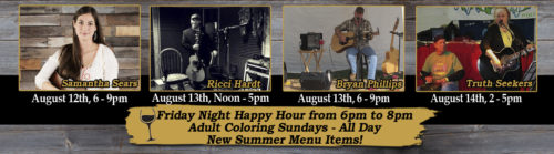 Deer Creek Winery Live Music August Week 2