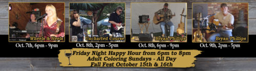 Deer Creek Winery Live Music October 2016 Week 2