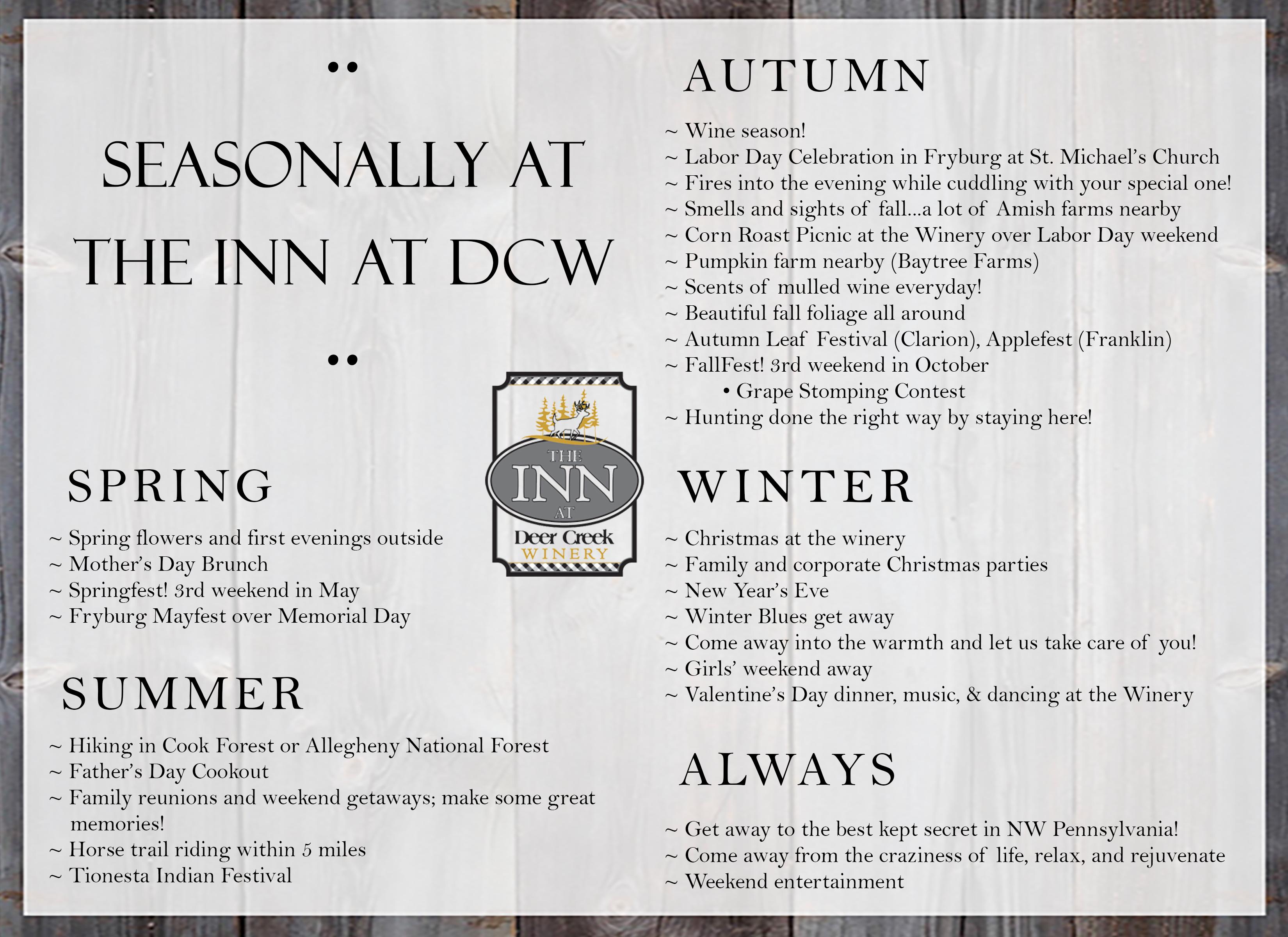 Seasonally at The Inn at DCW (horizontal) 2 « Deer Creek Winery